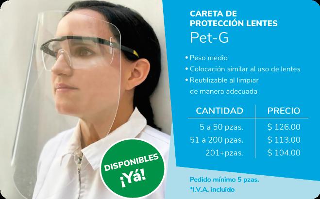 Careta de protección lentes: Peso medio, colocación similar al usar lentes, reutilizable al limpiar de manera adecuada
