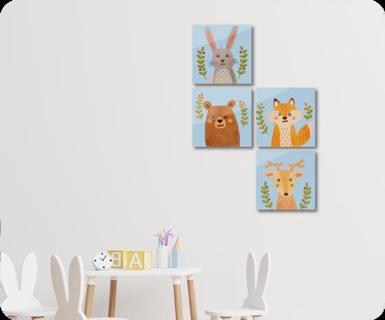 Foto de Set de 4 cuadros | Animales bosque
