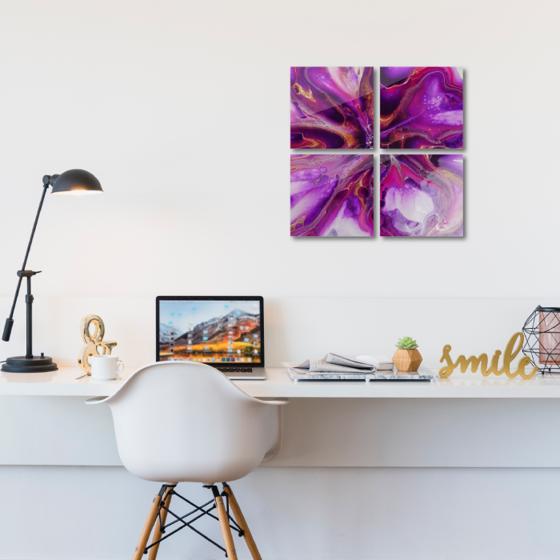 Foto de Set de cuadros acrílico | Arte rosa